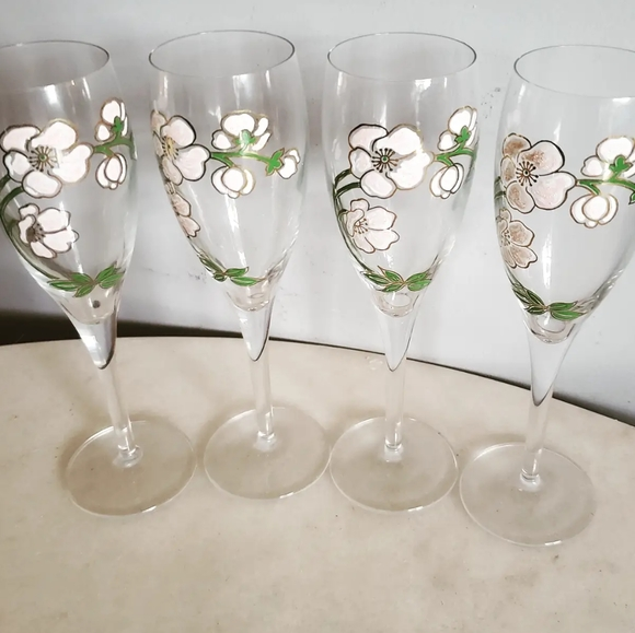 Perrier Jouet Handpainted Floral Champagne Glasses